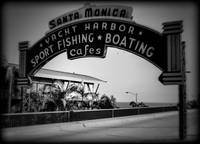 Santa Monica Pier Sign Series Holga Black and Whit