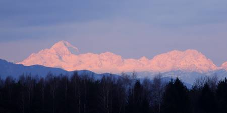 The distant Julian Alps aglow