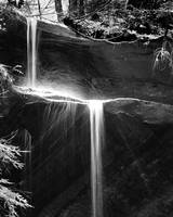 molten silver waterfall in black & white