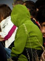 green hood person