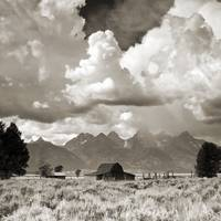 Jackson Hole Barn and Grand Tetons