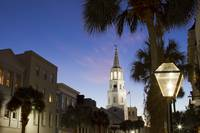 St Michaels Church Night Street Lamps Charleston