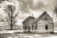 Old Log Home Cabin Sepia