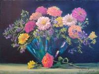 Zinnias in Blue Vase