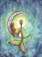 Mermaid Moon Fantasy Art Print by Molly Harrison