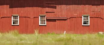 Wood Windows on a Red Weathered Barn