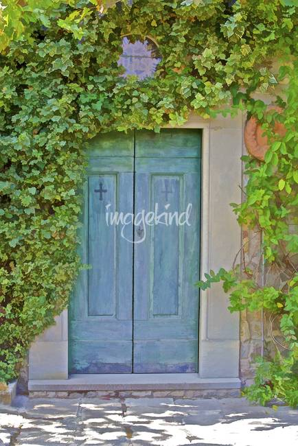 Faded Green Wood Door of Tuscany