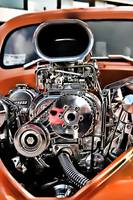 Blown - Superchared Engine in Orange Street Rod