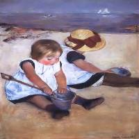Children Playing on Beach Art Prints & Posters by Lyndy Kates-Lane