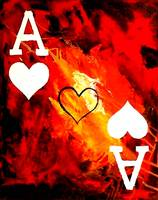ABSTRACT GALAXY ACES POKER ART OF HEARTS