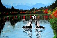 PLAYFUL ORCA WHALES PLAYING SOCCER