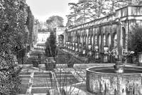 Roman Gardens in the Fall - BW