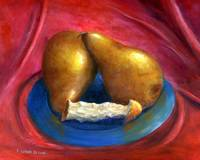 Still Life Art; Gold Pears, Red Background