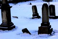 Old 1800's cemetery in a winter scene