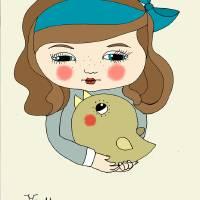 girl and bird Art Prints & Posters by juliane mertens-eckhardt
