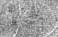 Detail from a map of Paris in reign of Henri II