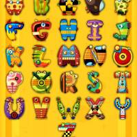 """Super Alphabet Poster (With background)"" by MikeCressy"
