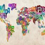 """Text Map of the World Urban Watercolor"" by ModernArtPrints"