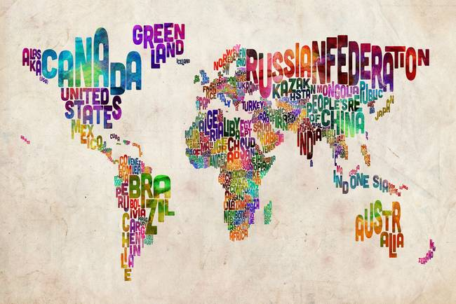 Urban Watercolor World Map.Text Map Of The World Urban Watercolor By Michael Tompsett