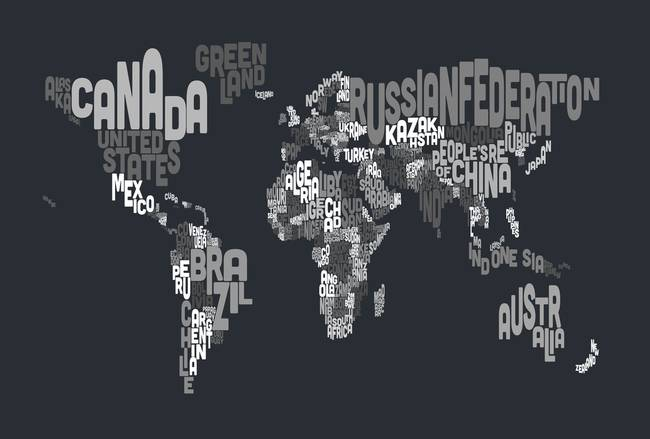 Map world art text map of the world by michael tompsett gumiabroncs Image collections