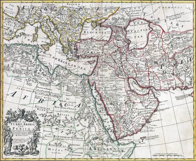 Map of Turkey, Arabia and Persia