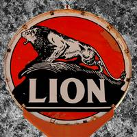 Vintage Lion Oil Sign