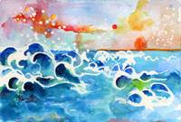 Evening Tide Watercolor by Ginette
