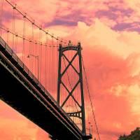 Vancouver Bridge and Golden Sky by Richard Thomas