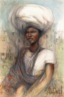 African Woman in Turban and Sash