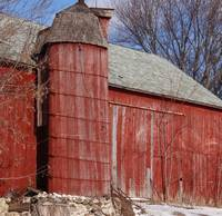 Wood silo in red