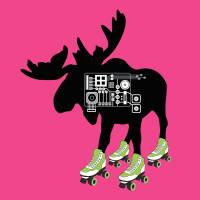 """ROLLER SKATING MOOSE"" by unleashstudio"