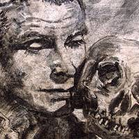 Hamlet Laurence Olivier Charcoal by Ginette