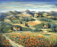 Tuscan Villa and Poppies