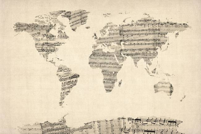 Map of the world map from old sheet music by michael tompsett gumiabroncs Choice Image