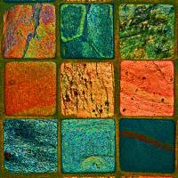 Colorful rock squares by Karen Adams