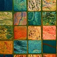 Quilt of Rocks in bright color by Karen Adams