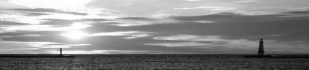 2011-ludington-lighthouse-panorama-sunset-bw copy