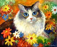 Cute Tubby cat in flowers painting