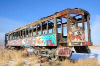 Colorfully Spray Painted Old Rail Car