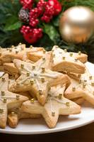 Decorated cookies in festive setting