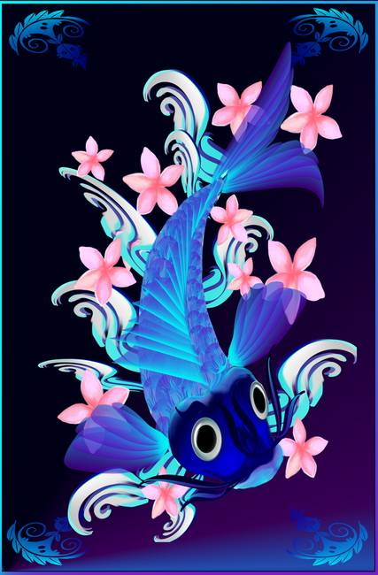 Blue Koi-Pink Flowers