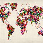 """Butterflies Map of the World Map"" by ModernArtPrints"