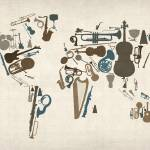 """Musical Instruments Map of the World Map"" by ModernArtPrints"