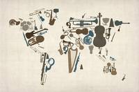 Musical Instruments Map of the World Map