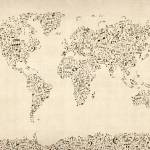 """Music Notes Map of the World Map"" by ModernArtPrints"