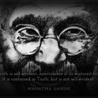 Inspirational Portrait - Mahatma Gandhi Art Prints & Posters by Norhashimah Erpelding