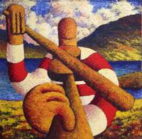 Fiddle player  in landscape( impasto)
