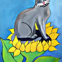 """""""Sunflower Kitty"""" by totallypainted"""