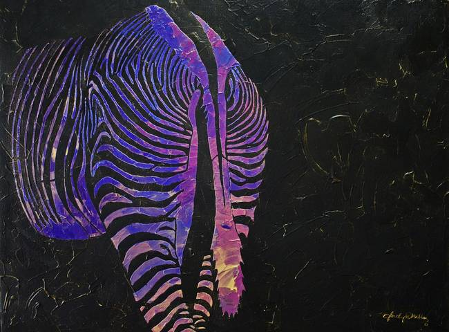 Original Modern Abstract Multicolored Zebra Butt