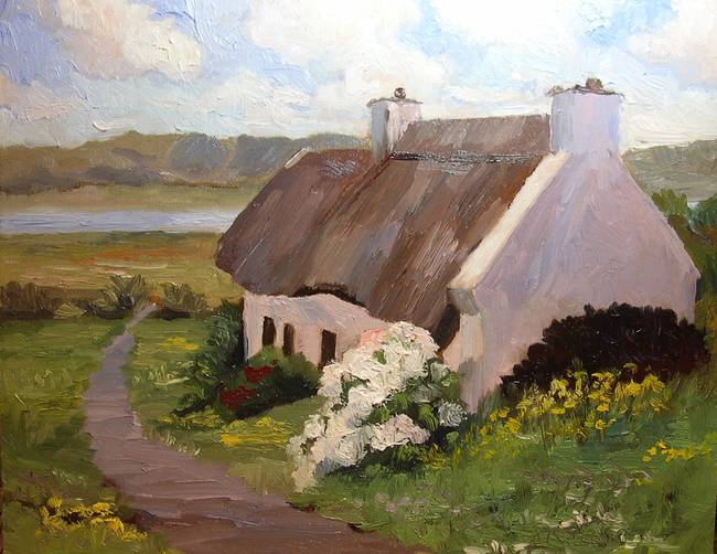 Thatched Roof Cottage Ireland By Roxanne Steed